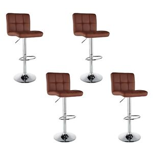 Set-of-4-Counter-Height-PU-Leather-Bar-Stools-Adjustable-Swivel-Pub-Chairs-Brown
