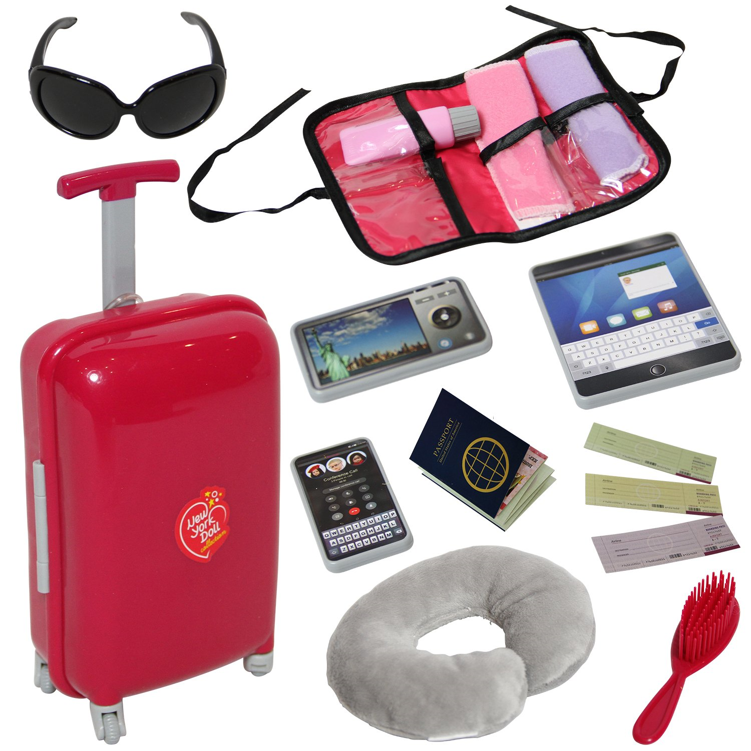 Including Luggage Pillow Blindfold Sunglasses Camera Computer Phone Ipad Umbrella Clothes/&Shoes Braicipt Doll Travel Suitcase Play Set for American 18 Inch