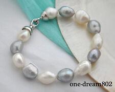 """8"""" 11x15mm baroque white gray freshwater pearl bracelet"""
