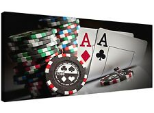 Red Large Canvas of Poker Chips Gambling  - 120cm x 50cm - 1048
