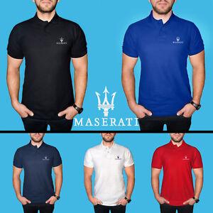 Uomo-Maserati-Maglietta-Polo-COTONE-RICAMATO-Auto-Logo-Camicia-T-Shirt-Tee