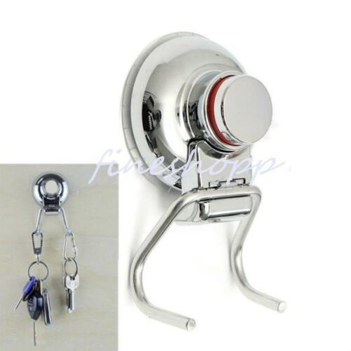 Stainless Steel Vacuum Button Suction Cup Swivel Double Hook Towel Hanger LE