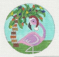 "Holiday Flamingo & Palm Tree HP Needlepoint Canvas Ornament from Juliemar  3""Rd."
