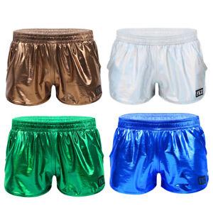 Herren-Shorts-Metallic-Kurze-Hose-Sport-Gym-Boxershorts-Retroshorts-Tanz-Kostuem