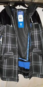 Great-NWT-MEN-039-S-ADIDAS-SNOWBOARDING-JACKET-250-L-Grey-plaid-hood-insulated