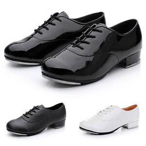 New Men Tap Dance Shoes Faux Leather Lace Up Comfort Dancing Performance Shoes