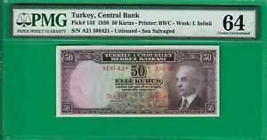 Turkey 50 kurush 1930, P133, Shipwrecked & sea salvaged issue yet UNC PMG *64*!