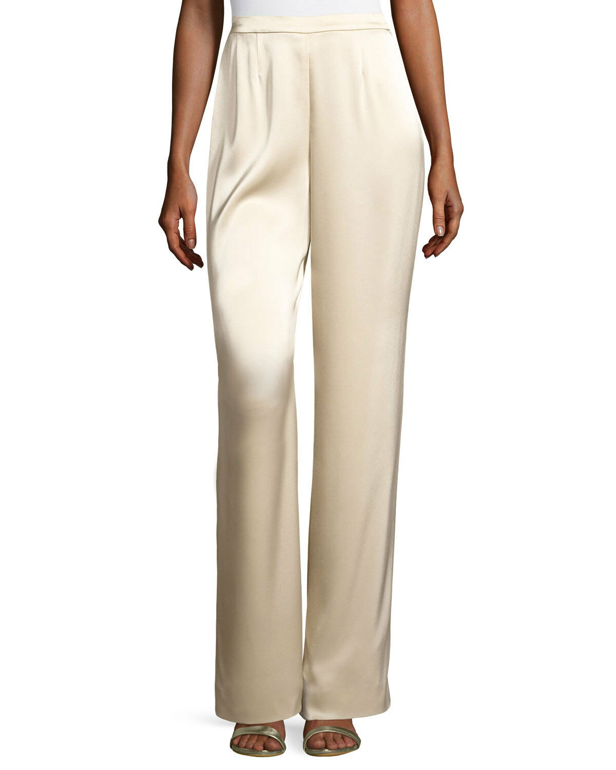 NEW ST. JOHN COUTURE 02 P CLASSIC BEIGE PANTS WIDE LEG SHINY CHAMPAGNE