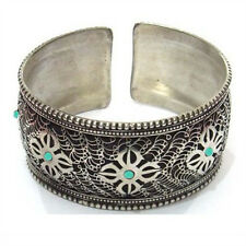 Huge Tibetan Filigree 7 Turquoise Gemstone VAJRA Dorje Amulet Cuff Bracelet