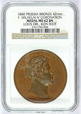 1840 Prussia F. Wilhelm Iv Coronation 42mm Bronze Medal - Ngc Ms 62 Bn Om Het Lichaamsgewicht Te Verminderen En Het Leven Te Verlengen