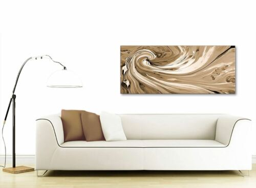 1349 120cm Wide Brown Cream Swirls Modern Abstract Canvas Wall Art