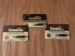 New-Old-Stock-Osmiroid-3-Screw-On-Nib-Units-Left-Handed