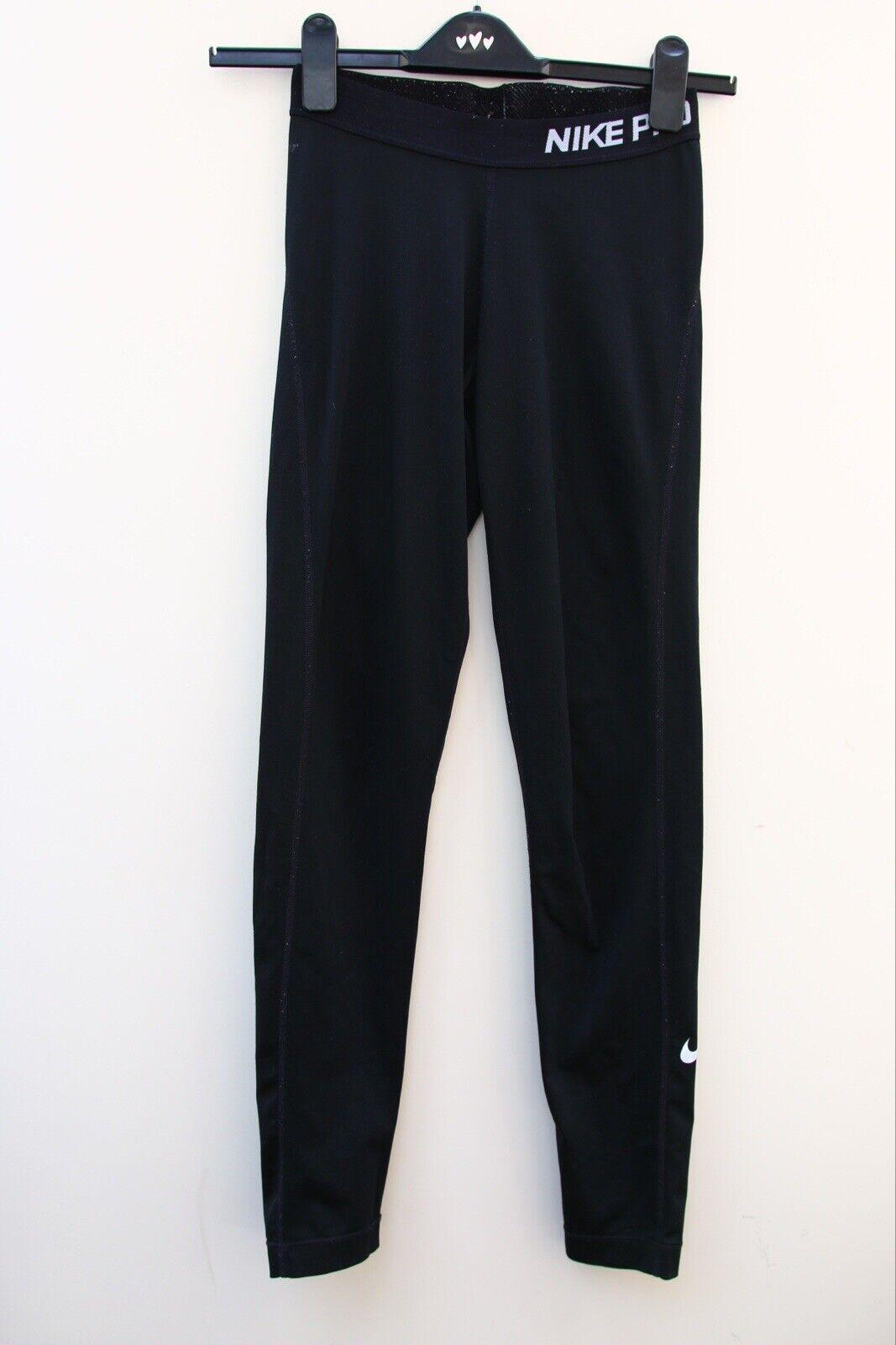 Nike pro leggings full length black logo dri-fit size small White Tick