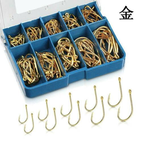 100pcs//Lot High Carbon Steel Fishing Hooks Sharpened Fishing Hook With Box .l