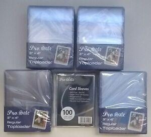 100 Pro Safe Regular 3x4 Toploaders + 100 soft sleeves New Top loaders