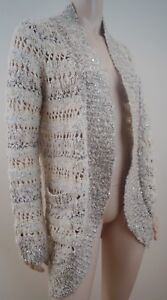 ANTHROPOLOGIE-Loose-Knit-Cream-Silver-amp-Ivory-Long-Sleeve-Cardigan-Top-M-BNWT