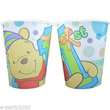 WINNIE THE POOH 1st BIRTHDAY KEEPSAKE CUPS (2) ~ First Party Supplies Girl Boy
