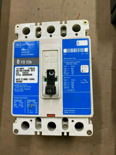 125 AMP 3 POLE 600 VOLT Circuit Breaker Cutler Hammer FD3125 Warranty