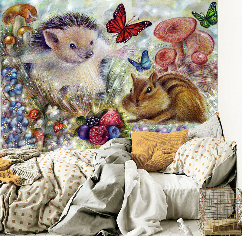 3D Squirrel Hedgehog Wallpaper Murals Wall Print Wallpaper Mural AJ WALL AU Kyra