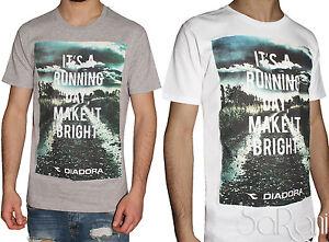 T-shirt-Uomo-DIADORA-Maglia-Girocollo-Mezza-Manica-Cotone-Bianco-Grigio-Stampa