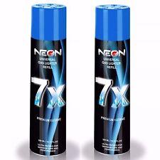 2 CANS NEON 7X BUTANE FUEL Refined 7 Times Ultra Pure Gas Premium Lighter Fluid