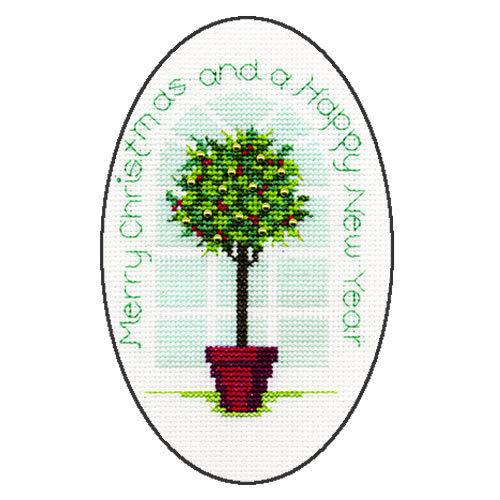 Derwentwater Designs Christmas Cross Stitch Card Kit Holly Tree