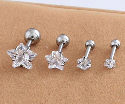 3mm/4mm/6mm/8mm Star Zircon Stud Earring Titanium steel Prevent allergy  E010