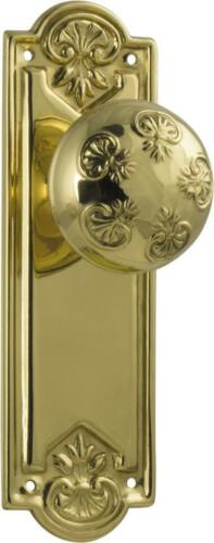 1 set of polished brass nouveau ornate round door knobs with backplates,188 x 58