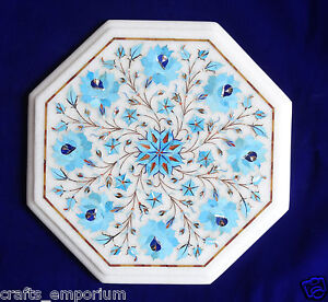 Details About 12 White Marble Semi Precious Turquoise Coffee Table Top Inlay Mosaic Decor Art