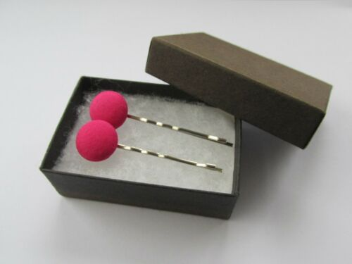 x 2 Handmade Hair Bobby Pin Clips Slides Cerise Pink Cotton Fabric Round