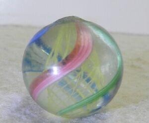 10847m-Vintage-German-Handmade-Yellow-Latticino-Swirl-Marble-78-Inches-Mint