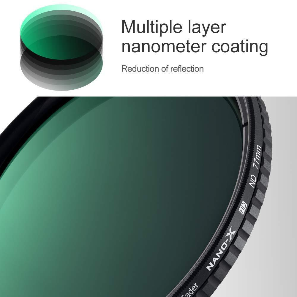 K/&F Concept 52mm Fader ND Filter Neutral Density Variable ND2 to ND32 ND2-ND32 for Camera Lens NO X Spot Nanotec Ultra-Slim Weather-Sealed