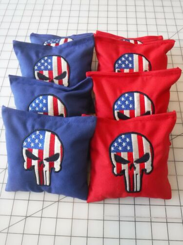 Set Of 8 Cornhole Bags Embroidered With The Punisher American Flag Blue And Red