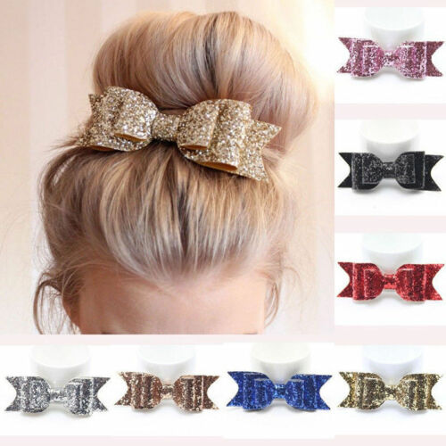 Sweet Women Girls Glitter Hairpin Bowknot Barrette Crystal Hair Clip Bow Gift