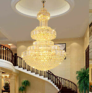 Luxury Duplex Hotel Large Led K9 Crystal Chandelier Villa Decorative Light 116 Ebay