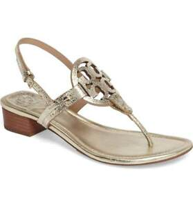 9c4a06ea8a3 NIB Tory Burch Miller Sandals 30 mm low heel GOLD size 9