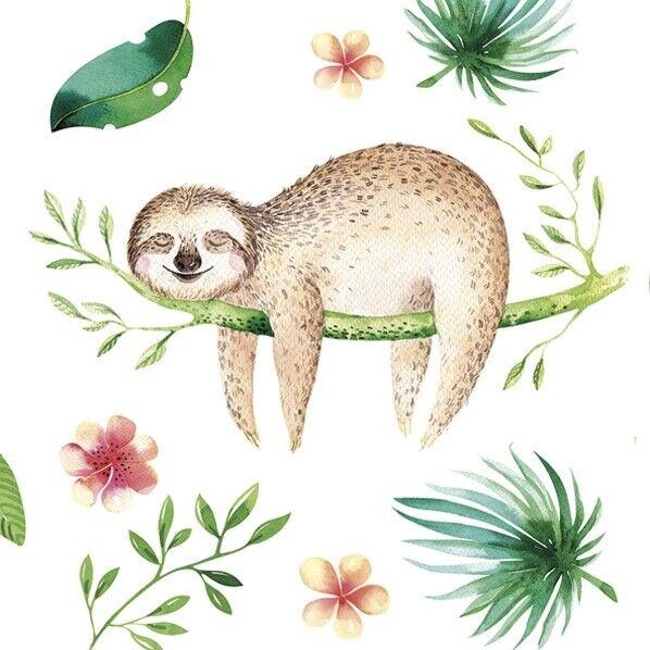 Napkin Positive Sloth Tissue Paper 3 Ply Napkins Decoupage 33 x 33 cm x 4