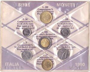 1990 Italia Set Annuale Ridotto 7 Monete Fdc Bu
