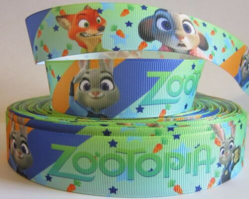 GROSGRAIN ZOOTOPIA 1 INCH RIBBON FOR HAIR BOWS DIY CRAFTS