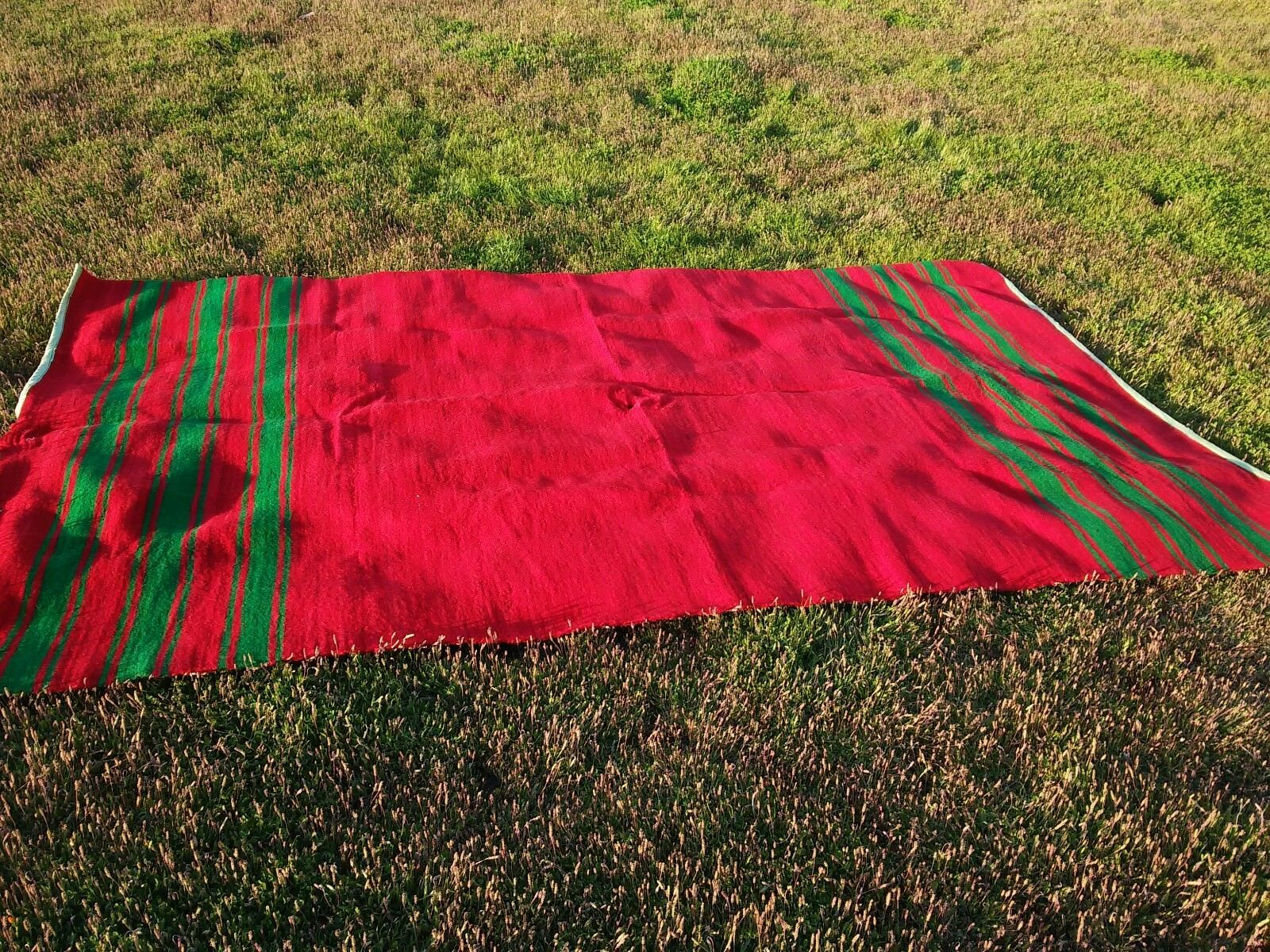 Vintage Large Blankets Throw pure wool bed Cover handmade Mgoldccan 10'3x5'9 Feet
