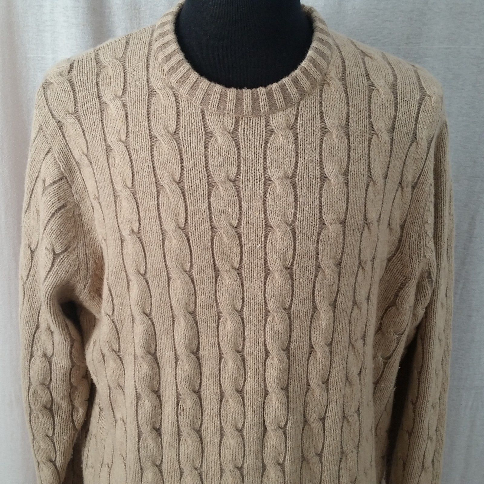 Jos A Bank Lambs Wool  Herren Lg Tan Cable Knit Pullover Sweater Chunky Soft