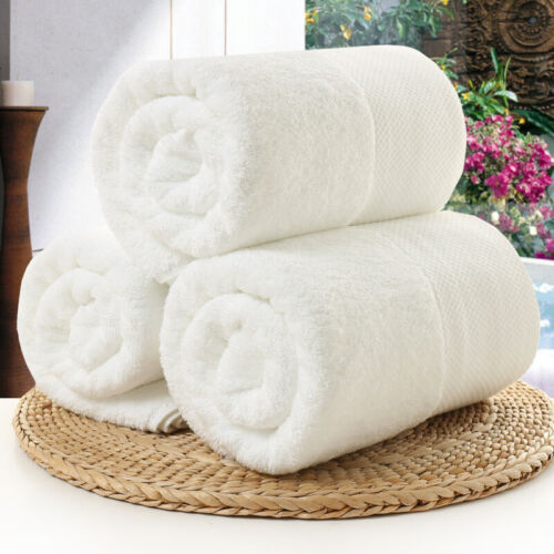 White Large Bath Shower Towel Cotton Thick Towels Bathroom Hotel Adults Kids