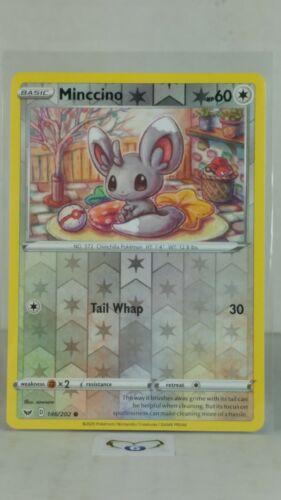 Base  Reverse Holo  Mint//NM Pokemon Minccino  146//202 Sword /& Shield