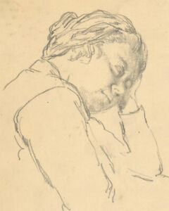 Harold Hope Read (1881-1959) - Graphite Drawing, Hilda Rests Her Head