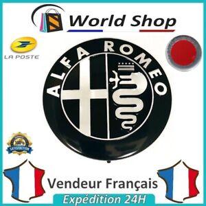 Embleme-Capot-Coffre-Alfa-Romeo-74mm-Metal-Sigle-Emblem-Badge-Logo-Noir-Chrome