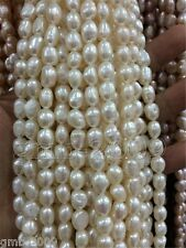 """8-9mm BAROQUE SHAPE WHITE NATURAL FRESHWATER PEARL LOOSE BEADS STRAND 15"""""""