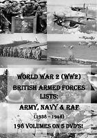 WORLD WAR 2 BRITISH ARMY NAVY & RAF LISTS - 194 BOOKS 5 DVDs! WW2 MEDAL RESEARCH