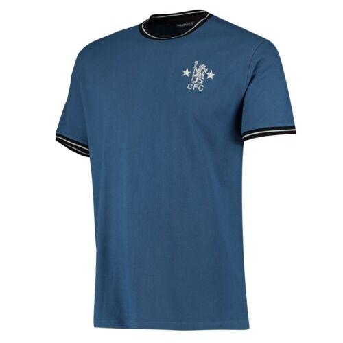 New Chelsea FC Official Men/'s Ringer Football T-Shirt Navy
