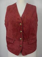 Vintage Womens Red Leather Suede Waistcoat Gilet Vest Top Size UK 14 EUR 42