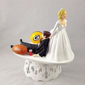 Funny Wedding Cake Topper Football Themed Green Bay Packers ...